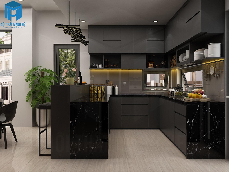 tủ bếp gỗ công nghiệp acrylic đẹp