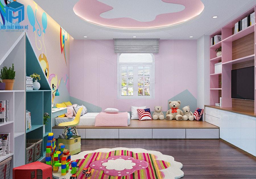 phòng ngủ cho bé gái kết hợp khu vui chơi