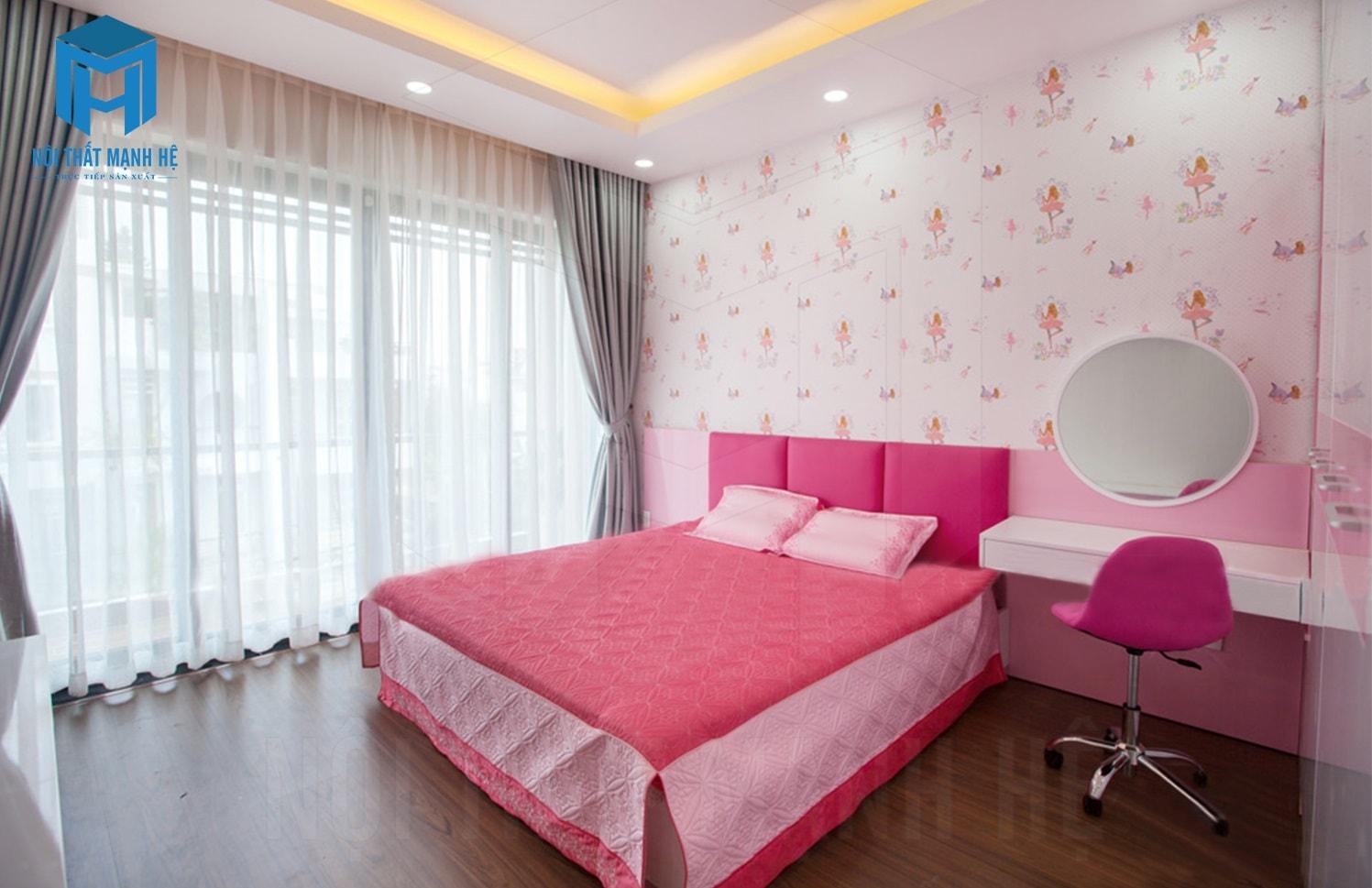nội thất phòng ngủ màu hồng cho bé