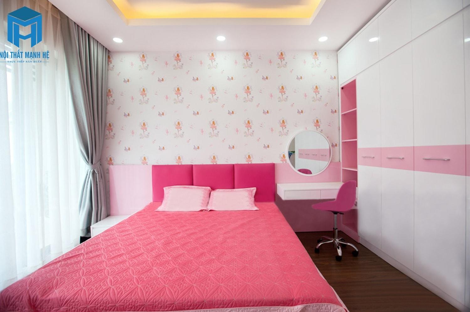 hoàn thiện phòng ngủ bé gái màu hồng