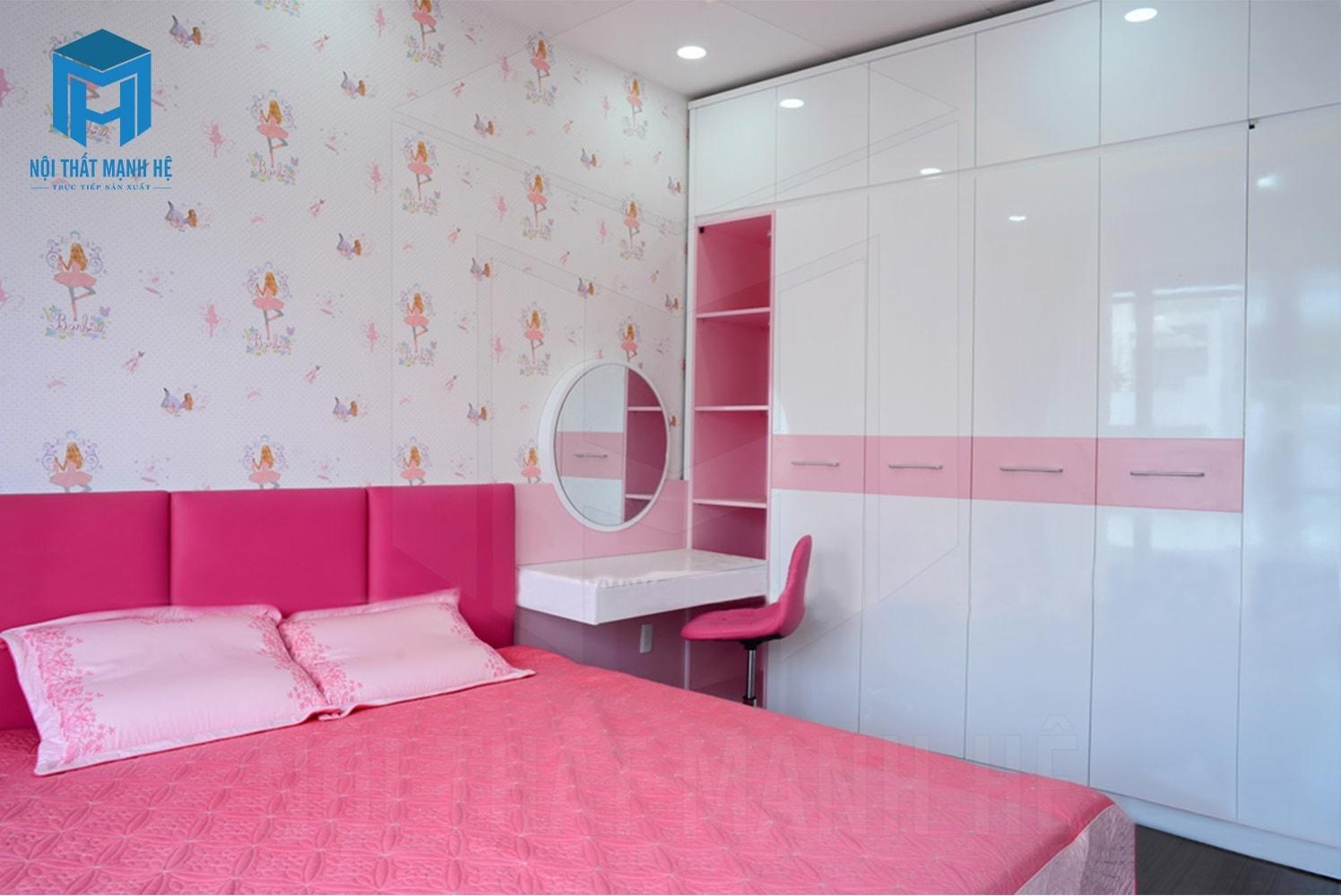 hoàn thiện nội thất phòng ngủ bé màu hồng