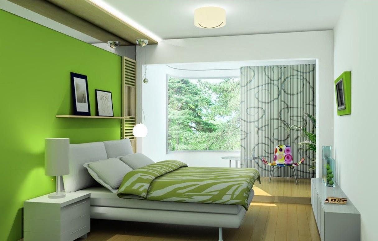 mẫu phòng ngủ sơn màu xanh lá canh