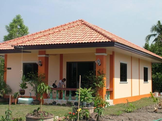 màu sơn nhà màu cam phối với hồng cam