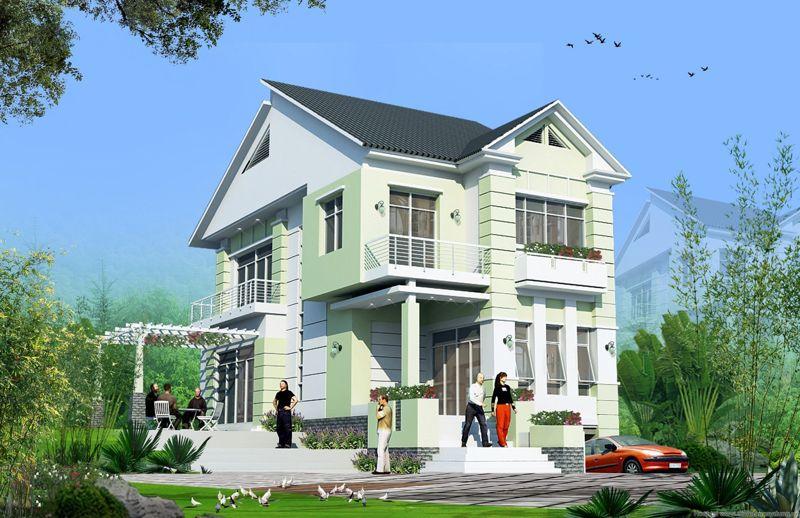 nhà màu xanh lá