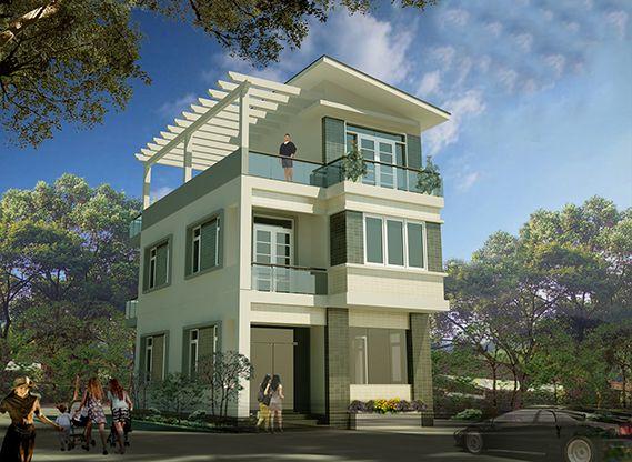nhà sơn ngoài màu xanh rêu