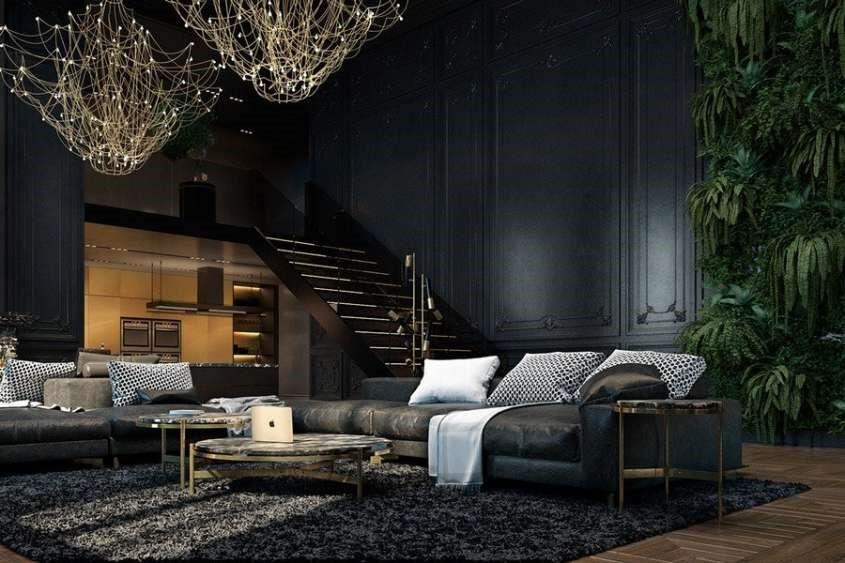 mẫu thiết kế nội thất tông màu đen