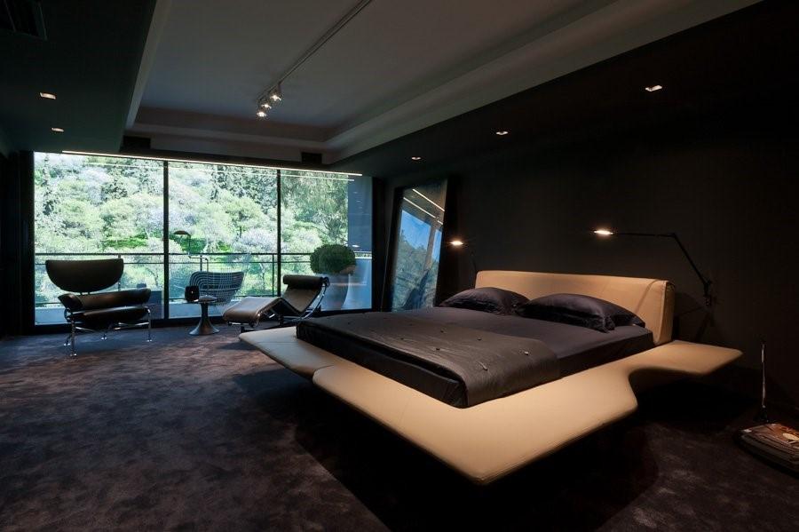 thiết kế phòng ngủ tông màu đen