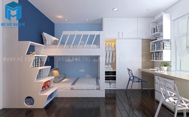 Trang trí phòng ngủ với tone màu xanh dương giúp tính cách trẻ luôn hòa nhã