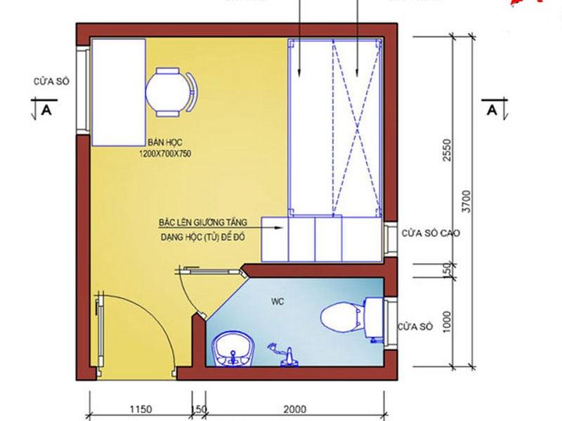 Bản vẽ thiết kế phòng trọ – Cách thiết kế phòng trọ 12m2 đẹp