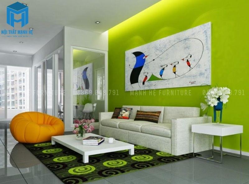 Màu sơn tường phòng khách cho người mệnh Mộc