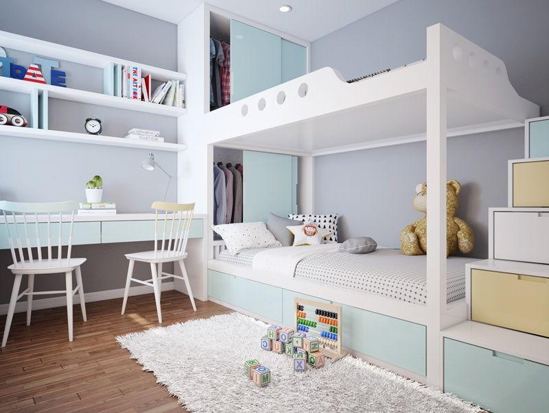 phòng ngủ màu xanh nhạt cho bé gái
