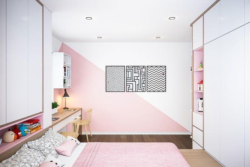 phòng ngủ màu hồng của bé