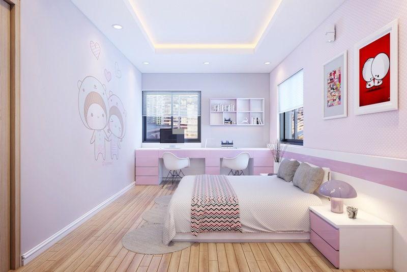 phòng ngủ bé gái màu tím
