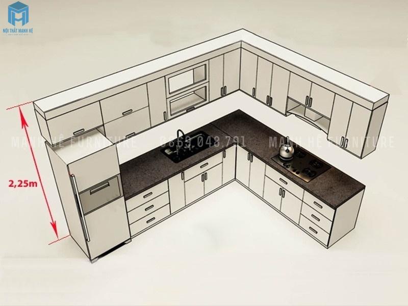chiều cao chuẩn của tủ bếp theo lỗ ban