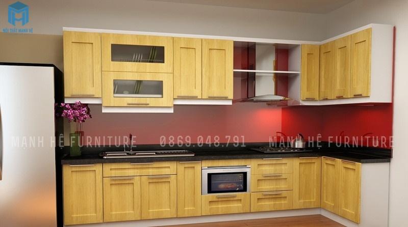 tủ bếp ốp kính màu đỏ