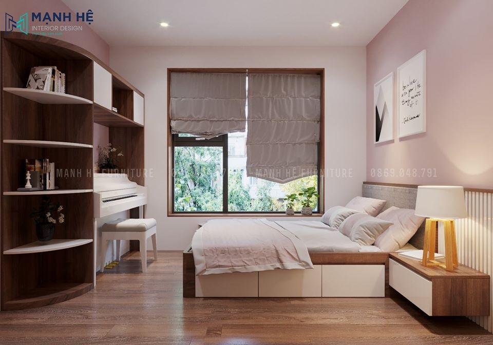 mẫu nội thất phối màu trắng và hồng nhẹ